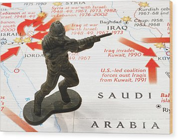 Army Man Standing On Middle East Conflicts Map Wood Print by Amy Cicconi