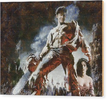 Wood Print featuring the painting Army Of Darkness by Joe Misrasi