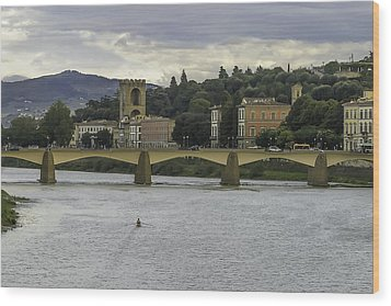 Arno River And Architecture In Florence Wood Print by Karen Stephenson