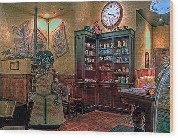 Wood Print featuring the photograph Aromas Coffee Shop Newport News Virginia by Jerry Gammon