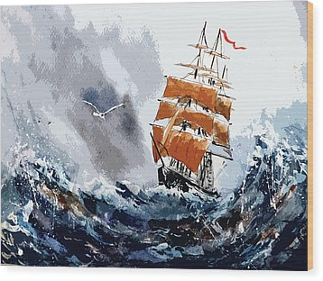 Wood Print featuring the painting Around The Horn by Steven Ponsford