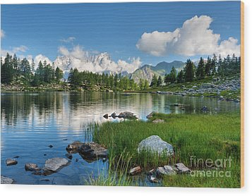 Wood Print featuring the photograph Arpy Lake - Aosta Valley by Antonio Scarpi