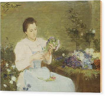 Arranging Flowers For A Spring Bouquet Wood Print by Victor Gabriel Gilbert