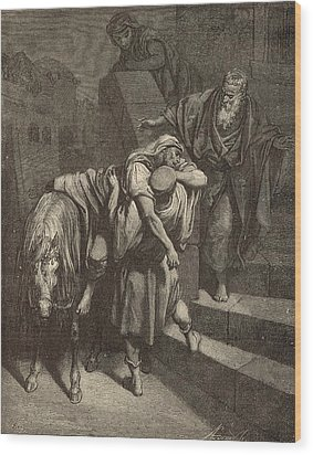 Arrival Of The Samaritan At The Inn Wood Print by Antique Engravings