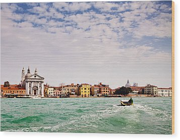 Arriving In Venice By Boat Wood Print by Susan Schmitz