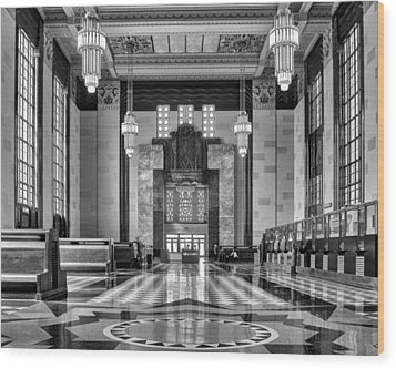 Art Deco Great Hall #1 - Bw Wood Print by Nikolyn McDonald
