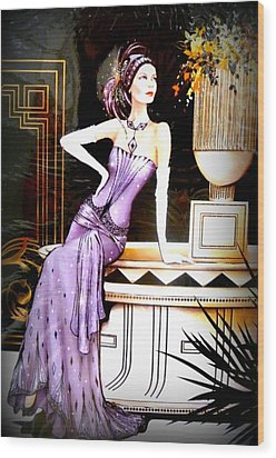 Art Deco Lady In Purple Wood Print by The Creative Minds Art and Photography