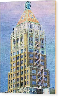 Art Deco Lives At Philtower Wood Print by Janette Boyd