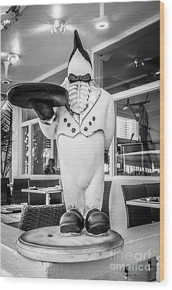 Art Deco Penguin Waiter South Beach Miami - Black And White Wood Print by Ian Monk