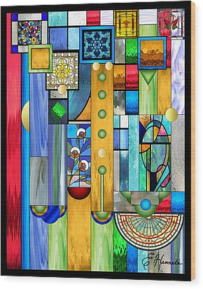 Art Deco Stained Glass 1 Wood Print