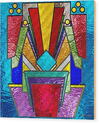 Art Deco - Stained Glass 6 Wood Print