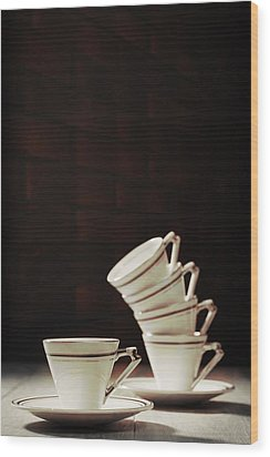 Art Deco Teacups Wood Print by Amanda Elwell