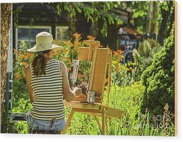 Art In The Garden Wood Print