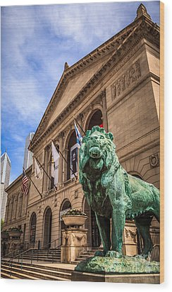 Art Institute Of Chicago Lion Statue Wood Print by Paul Velgos