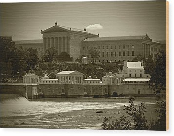 Art Museum And Fairmount Waterworks - Bw Wood Print