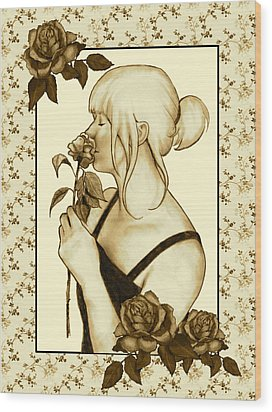 Art Nouveau Style Woman With Roses Wood Print by Joyce Geleynse