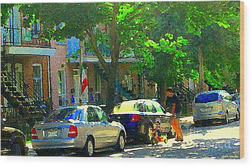 Art Of Montreal Day With Daddy And Yellow Wagon Zooming Our Streets Of Verdun Scene Carole Spandau  Wood Print by Carole Spandau