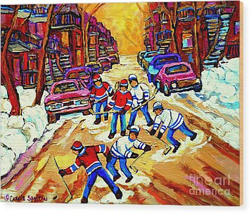 Art Of Montreal Hockey Street Scene After School Winter Game Painting By Carole Spandau Wood Print by Carole Spandau
