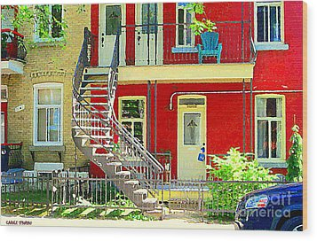 Art Of Montreal Upstairs Porch With Summer Chair Red Triplex In Verdun City Scene C Spandau Wood Print by Carole Spandau