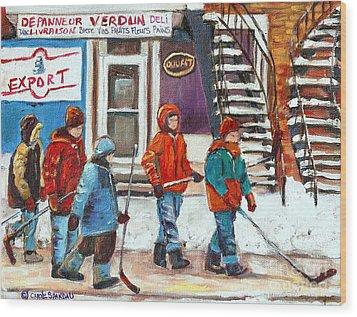 Art Of Verdun Depanneur Deli Patisserie Fleuriste Fruits Montreal Paintings Hockey Art Scenes Verdun Wood Print by Carole Spandau