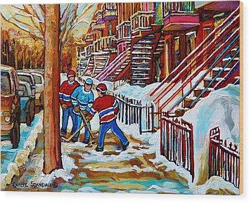 Art Of Verdun Staircases Montreal Street Hockey Game City Scenes By Carole Spandau Wood Print by Carole Spandau