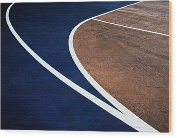 Art On The Basketball Court  11 Wood Print by Gary Slawsky