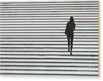 Art Silhouette Of Girl Walking Down Wood Print by Lars Ruecker