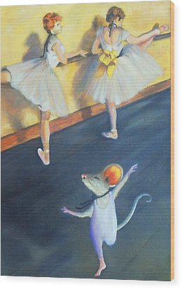 Artemouse With Dancers At The Barre Wood Print by Debbie Patrick