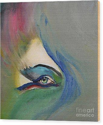 Wood Print featuring the painting Artful Eye Of Mine by Maja Sokolowska