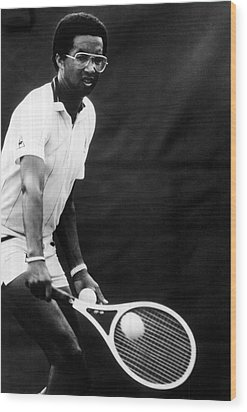 Arthur Ashe Playing Tennis Wood Print by Retro Images Archive