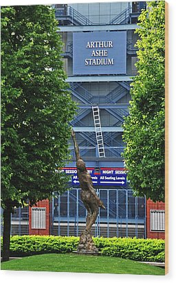 Arthur Ashe Stadium Wood Print by Mike Martin