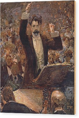 Arthur Nikisch Conducting A Concert At The Gewandhaus In Leipzig Wood Print by Robert Sterl