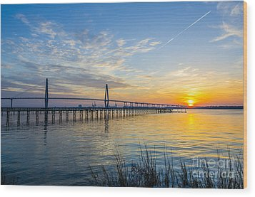Wood Print featuring the photograph Calm Waters Over Charleston Sc by Dale Powell