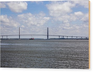 Wood Print featuring the photograph Arthur Ravenel Bridge by Sennie Pierson