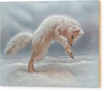 Artic White Wolf Wood Print by Joan  Minchak