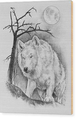 Artic Wolf Wood Print by Bernadett Kovacs