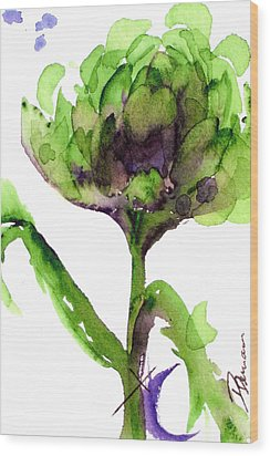 Artichoke Wood Print by Dawn Derman
