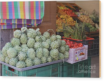Artichokes And Asparagus Guanajuato Wood Print by Linda Queally