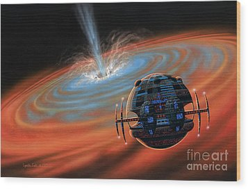 Artificial Planet Orbiting A Black Hole Wood Print by Lynette Cook