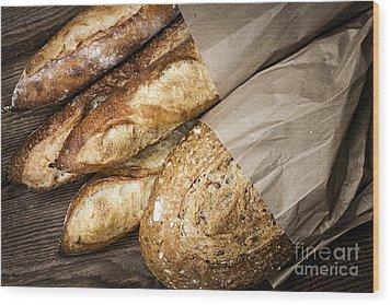 Artisan Bread Wood Print by Elena Elisseeva
