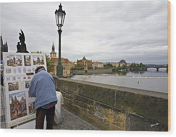 Artist On The Charles Bridge - Prague Wood Print by Madeline Ellis