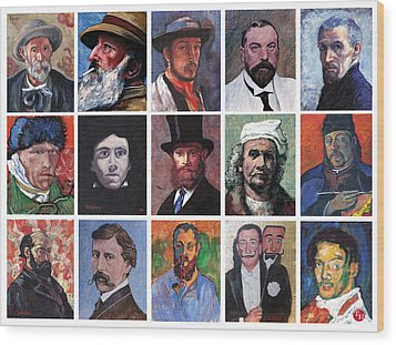 Artist Portraits Mosaic Wood Print by Tom Roderick