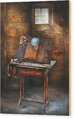 Artist - The Etching Table Wood Print by Mike Savad