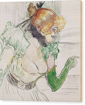 Artist With Green Gloves - Singer Dolly From Star At Le Havre Wood Print by Henri de Toulouse Lautrec