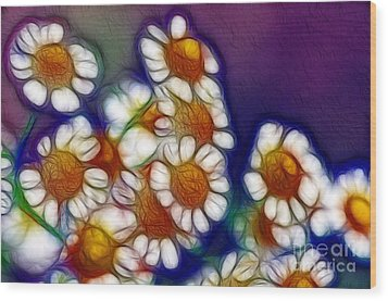 Artistic Feverfew Wood Print by Kaye Menner