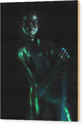 Artistic Nude  Green Skin  Wood Print by Dan Comaniciu