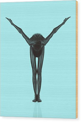 Artistic Nude Of Young Woman Geometric Position Wood Print by Dan Comaniciu