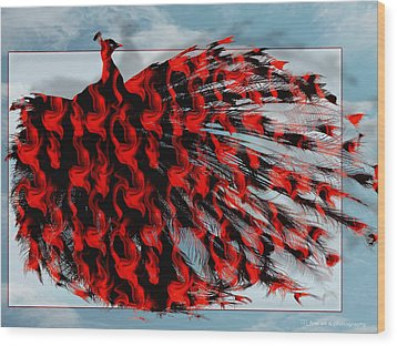 Artistic Red Peacock Wood Print by Yvon van der Wijk