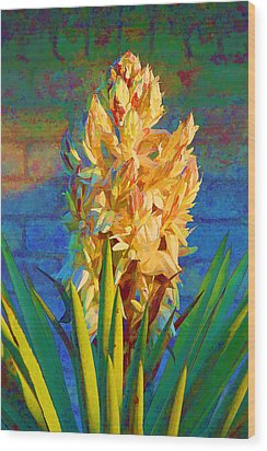 Artistic Yellow Yucca Wood Print by Linda Phelps