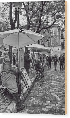 Artists In Montmartre Wood Print by Georgia Fowler